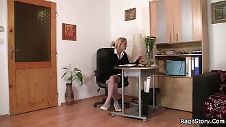 Punished office blonde in white stockings takes it hard