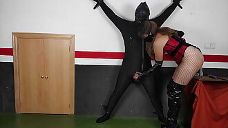 Tied Up Chastity Slave Milked By Cruel Leather Femdom Mistress In Boots