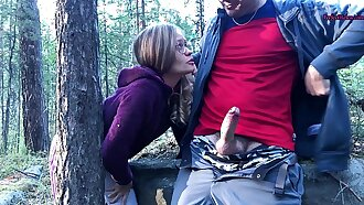 Sucked a Stranger in the Woods to Help Her - Public Sex