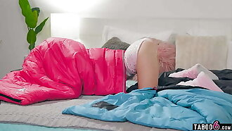 Tiny teen stepsister Kenzie Reeves gets stuck at a pyjama party
