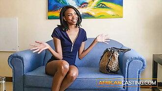 Skinny Tall Ebony Model Facialized by Big Cock on Fake Casting